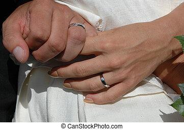 anéis, mãos