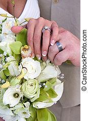 anéis, mãos, nupcial