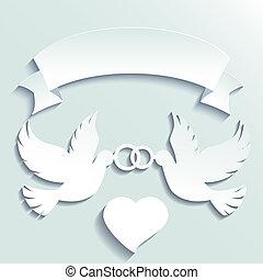 anéis, pombas, segurando, casório