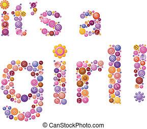 anúncio, botão, meninas, nascimento