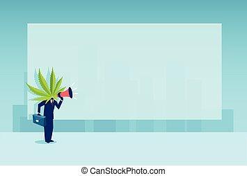 anúncio, cabeça, folha, negócio, cannabis, vetorial, instead, fazer, megafone, homem