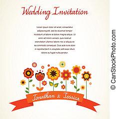 anúncio, cartão, saudação, convite, casório, ou