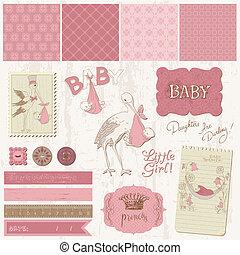 anúncio, elementos, vindima, -, desenho, bebê, scrapbook, menina