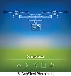 anúncio, esquema, contorno, quadrocopter
