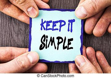 anúncio, finger., simple., fácil, princípio, simplicidade, texto, mostrando, aquilo, nota pegajosa, escrito, papel, passe segurar, foto, conceitual, letra, estratégia, aproximação, mantenha