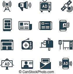 anúncio, ligado, tela, anunciando, televisão, ao ar livre, anúncio, online, anúncios, vetorial, ícones