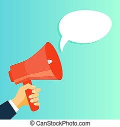 anúncio, mão, fazer, megafone, público, vermelho