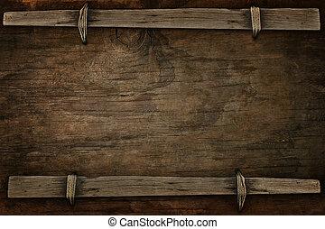anúncio, madeira, com, livre, espaço