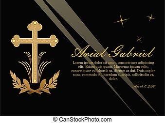 anúncio, ramos, lawrence, luz, funeral, dourado, luxuoso, obituary, pretas, crucifixo, fundo, rays., design.