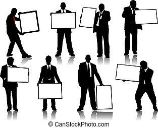 anúncio, silhuetas, tábua, pessoas escritório