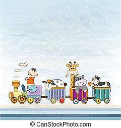 anúncio, trem, cartão, bebê, novo, animal