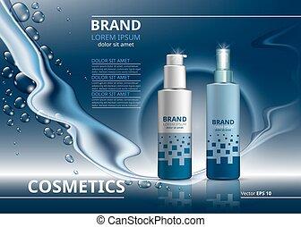 anúncios, mockup, gel, pacote, cosmético, mousse, bottles.,...