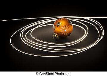an, 橙, 圣誕節球, 由于, 光, 條紋