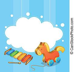 an, 空, 雲, 樣板, 由于, a, 玩具馬, 以及, a, 木琴