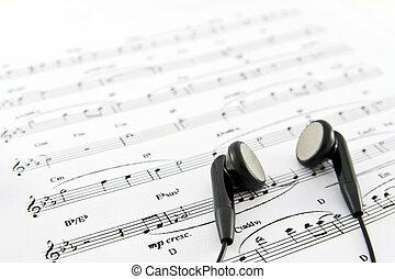 an, 耳朵, 電話, 上, the, 頂部, ......的, a, 音樂表