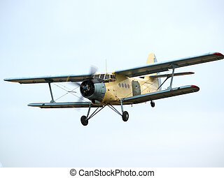 AN-2 on final approach - Old russian multipurpose plane on...