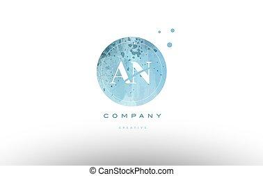an a n watercolor grunge vintage alphabet letter logo