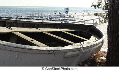 An abandoned boat near the shore