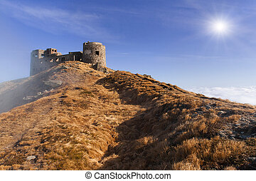 An abandoned fortress in the mountains