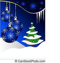 An abstract Christmas vector illustration with blue baubles on a darker backdrop with a white winter scene and room for text