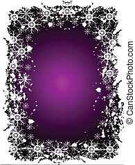 An abstract Christmas vector illustration with grunge snowflakes on a purple background with room for text