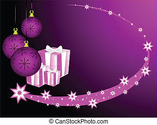 An abstract Christmas vector illustration with purple baubles