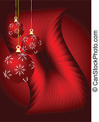 An abstract Christmas vector illustration with red baubles