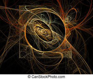 Dance of fire neon lights in dark spiral cave. Squaring the circle