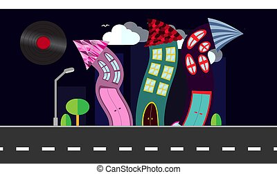 An abstract dancing city in a flat style with a vinyl plate, a sun-smect with curved houses at night with trees and bushes, clouds on a dark blue background. Vector illustration