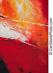 an abstract expressionistic acrylic painting in reds