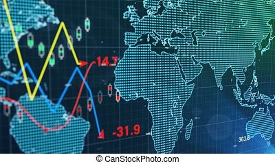 """"""" An abstract financial chart blue background. """""""