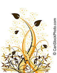 An abstract floral vector ilustration with a large orange plant with smaller folliage on a white background with grunge effect spots
