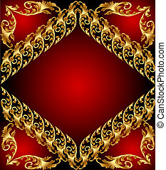 An abstract gold pattern. Illustration on red background for design Image