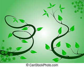 An abstract green floral background