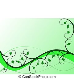 An abstract green floral vector background
