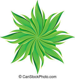 An abstract green flower on white background.