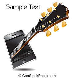 music phone with a guitar - An abstract music phone with a ...