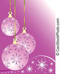 An abstract pink baubles Christmas vector illustration
