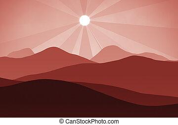 red landscape background