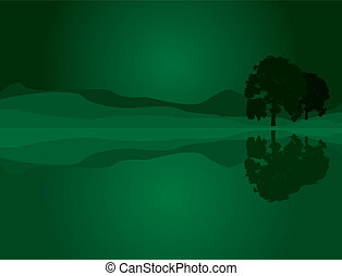 An abstract scene of a field at night with some silhouette trees