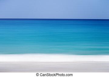 An abstract sea seascape, blue bokeh background blur motion