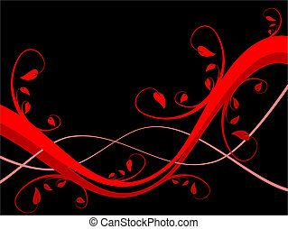 An abstract sytylized floral background illustration with a horizontal red floral design on a black background with room for text