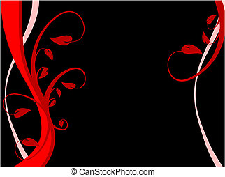 An abstract sytylized floral background illustration with a  red floral design on a black background with room for text