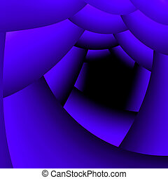 an abstract tunnel is luminous dark blue by light going away...