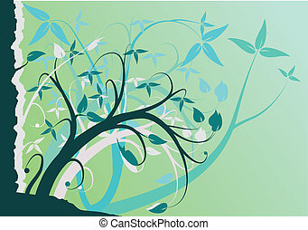 An abstract turquoise floral design