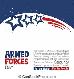 An abstract vector illustration of Armed Forces Day on an isolated white background
