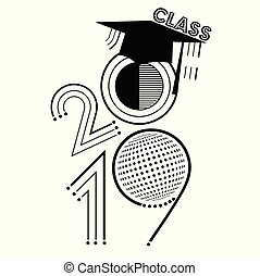 An abstract vector illustration of Class of 2019 in black...