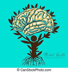 An abstract vector illustration on Mental Health and well being on an isolated background