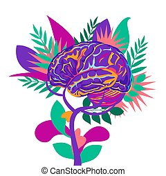 An abstract vector illustration on Mental Health and well being on an isolated white background