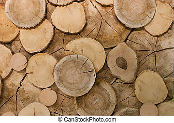 abstract wood log background close-up